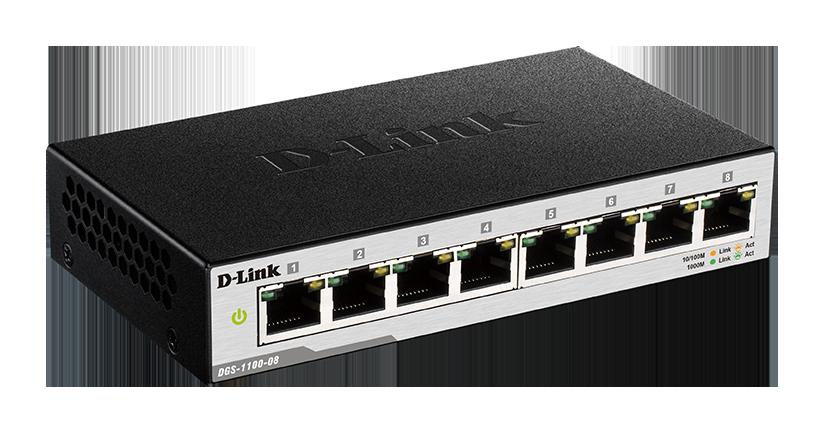 D-Link DGS-1100-08/E 8-port 10/100/1000 EasySmart Switch- 8-Port 100BaseTX Auto-Negotiating 10/100/1000Mbps Switch- Fanless