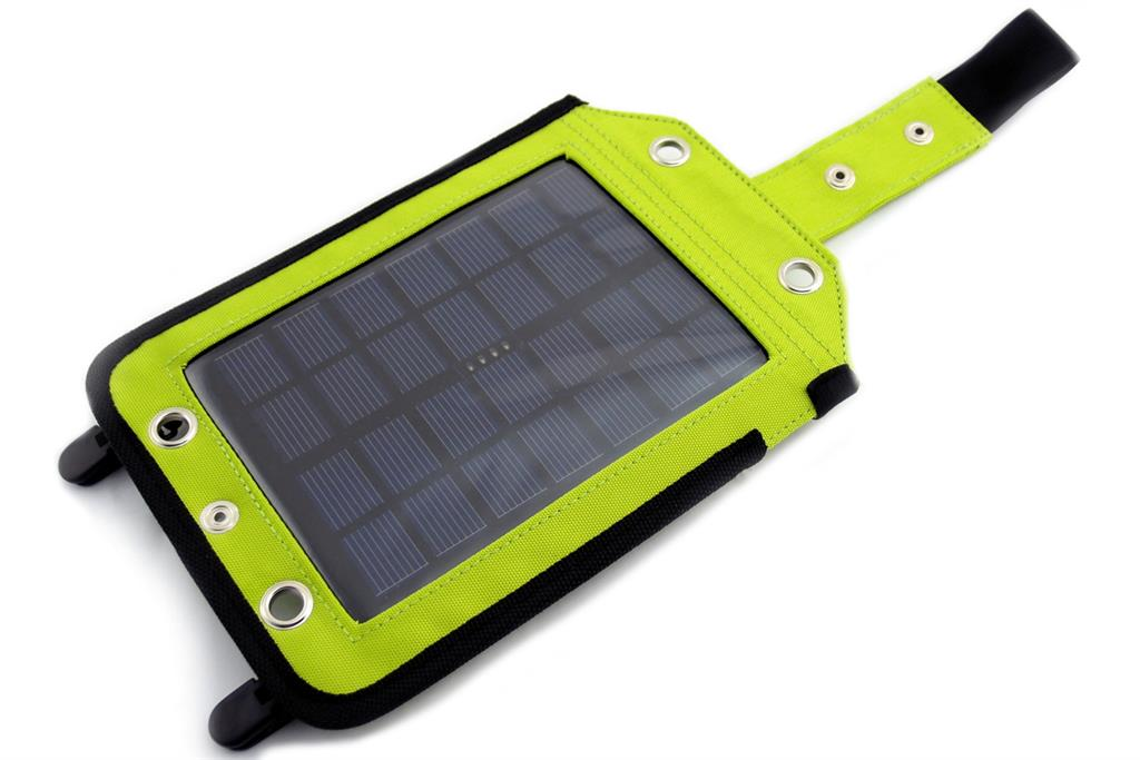 PowerNeed Sunen Solar charger 2.5W with Power Bank 3000mAh Li-Poly, green