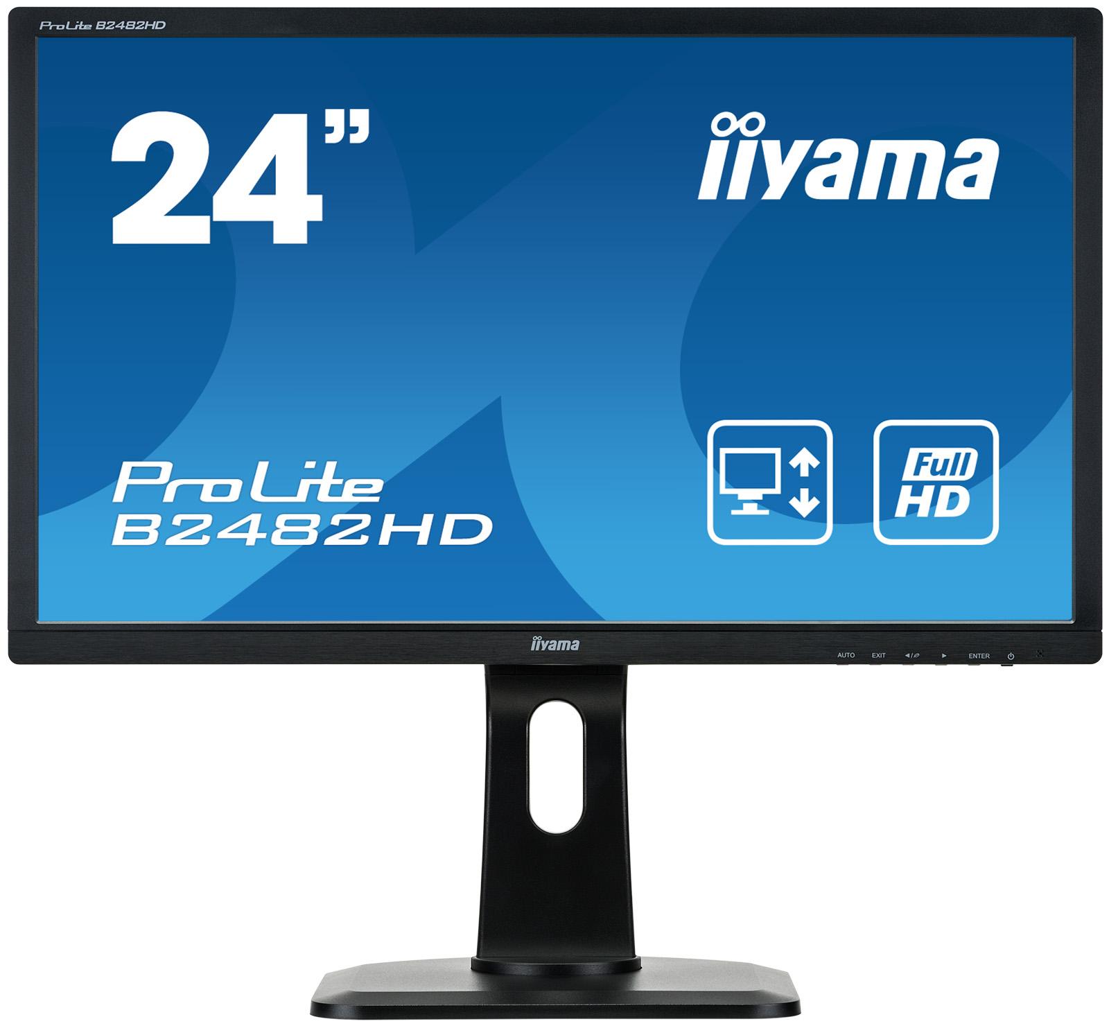 """24""""LCD iiyama B2482HD-B1 - 5ms,250cd/m2,1000:1 (12M:1 ACR),FullHD,VGA,DVI,pivot,výškově nastavitelný"""