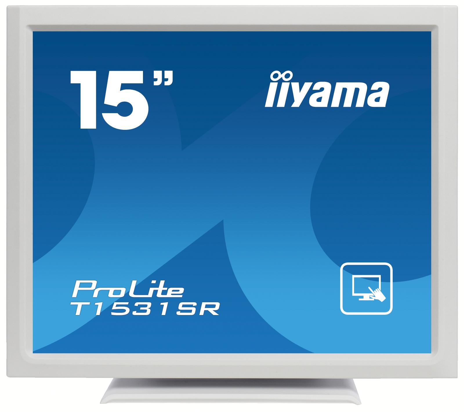 "15"" LCD iiyama T1531SR-W3 -5 žilový,8ms,350cd,VGA,DVI,USB,RS232C,repro,IP54,bílý"