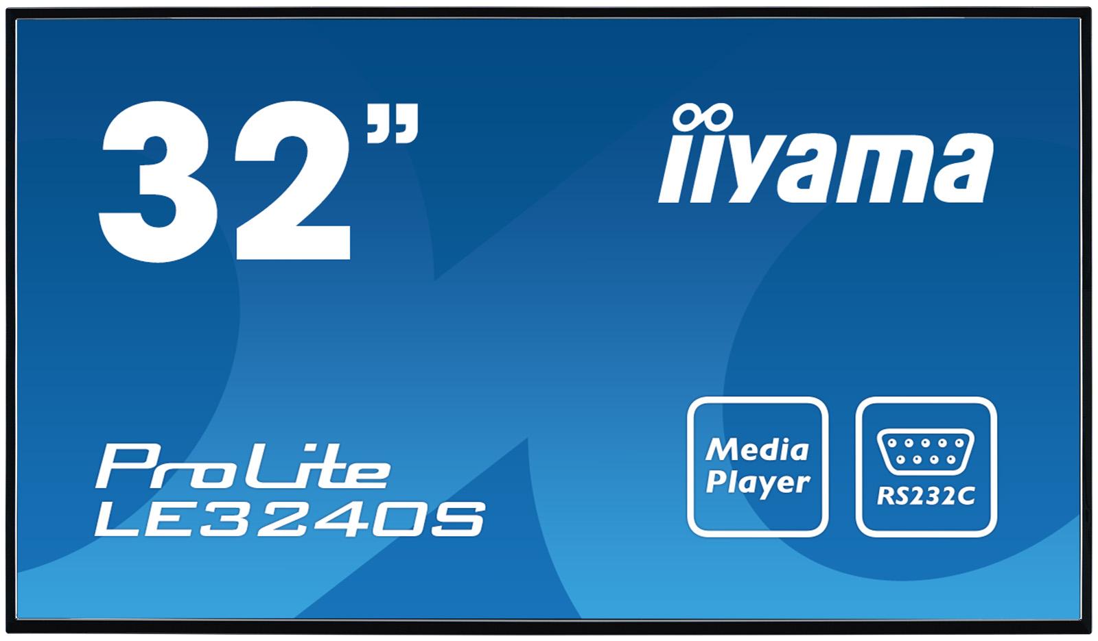 "32"" LCD iiyama ProLite LE3240S-B1 -FullHD, IPS, 8ms, 350cd, USB 2.0 media player, RJ45, RS232C,repro"