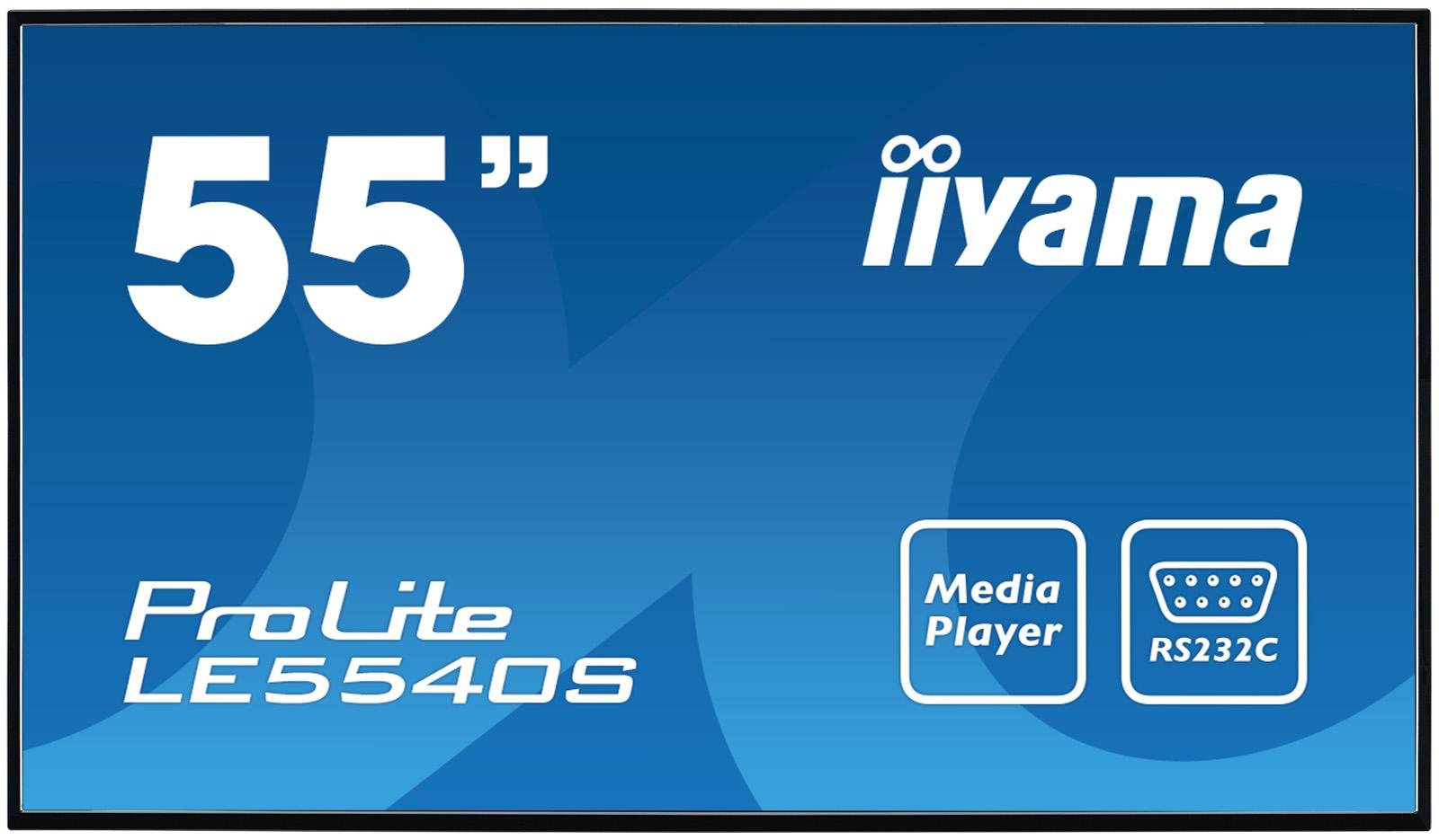 "55"" LCD iiyama ProLite LE5540S-B1 -FullHD,IPS, 8ms, 350cd, USB 2.0 media player, RJ45, RS232C,repro"
