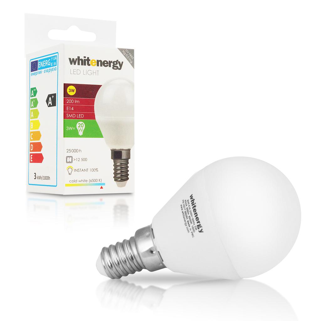 WE LED žárovka SMD2835 B45 E14 3W studená bílá
