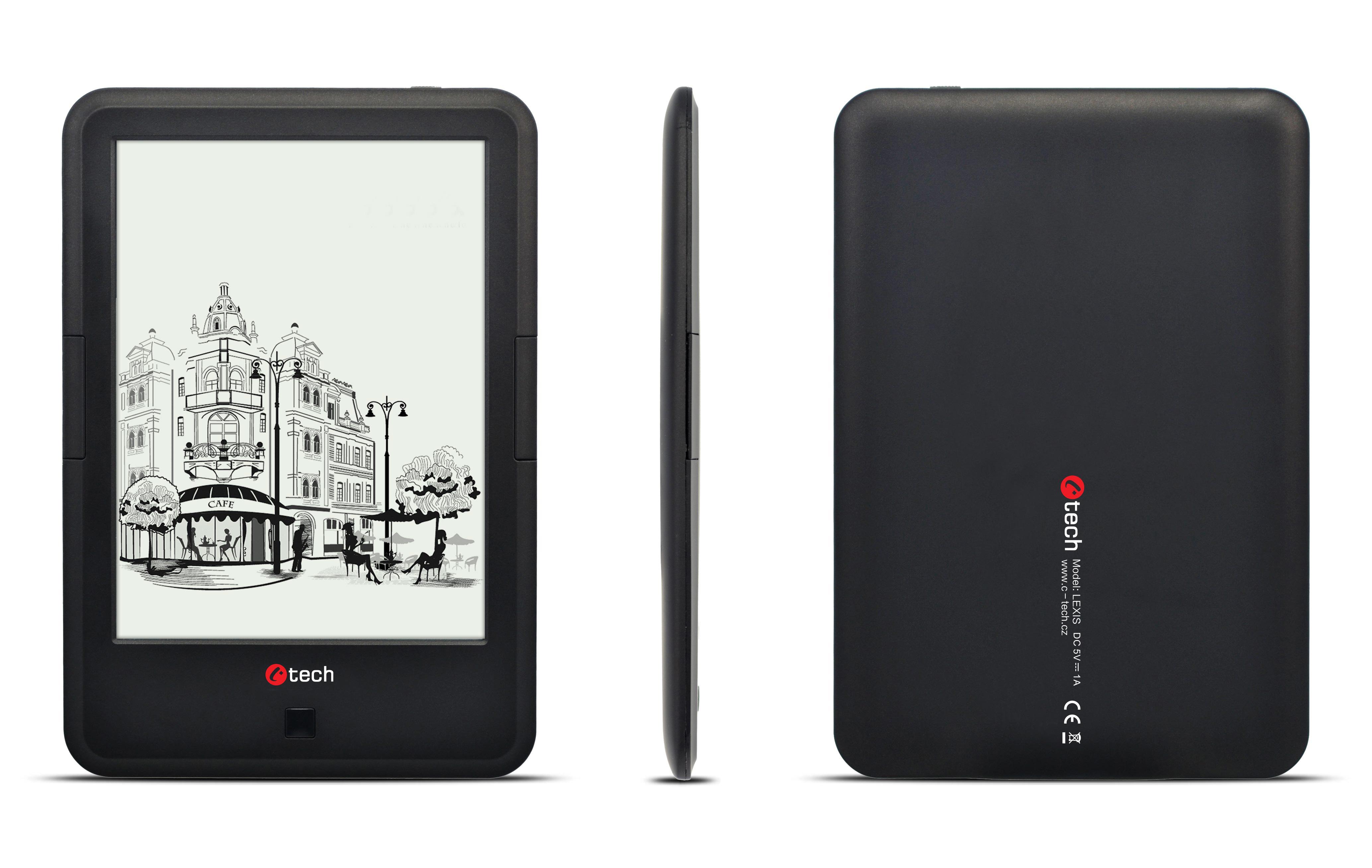 C-TECH E-book Lexis (EBR-61), dual core, Android 4.2, dotyková HD obrazovka s podsvícením, Wi-Fi, 8GB, černý + 100 knih