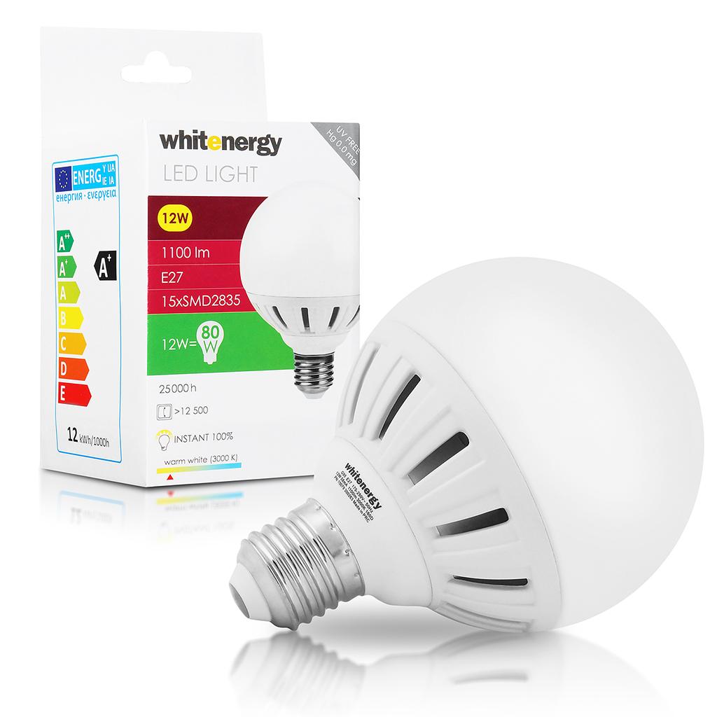 WE LED žárovka SMD2835 G95 E27 12W bílá mléčná