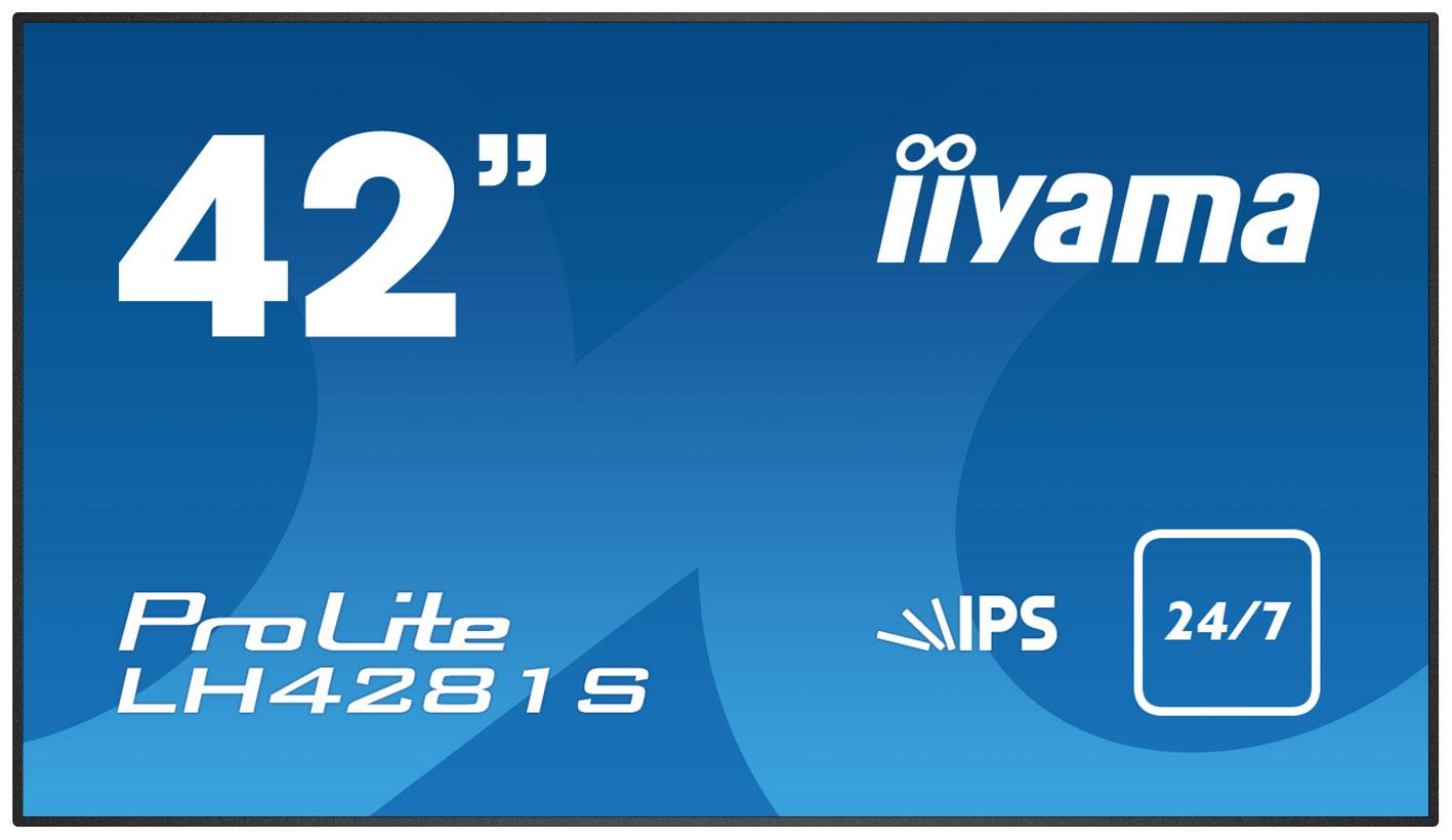 "42"" LCD iiyama ProLite LH4281S-B1 -FullHD,IPS,8ms,500cd,USB media player,RJ45,RS232C,repro,OPS,24/7"