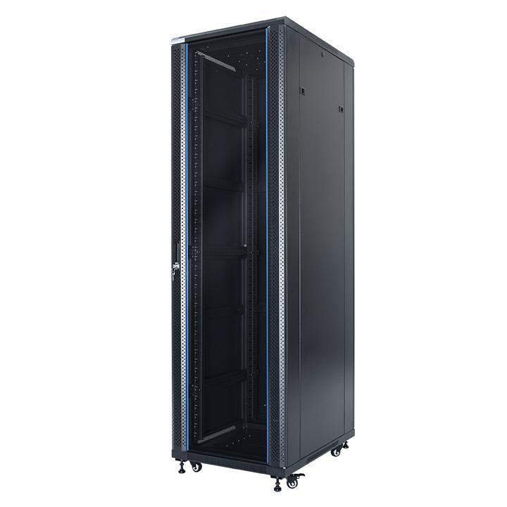 START.LAN stojící skříně 19'' 42U 600x1000mm - černá (perforované přední dveře)