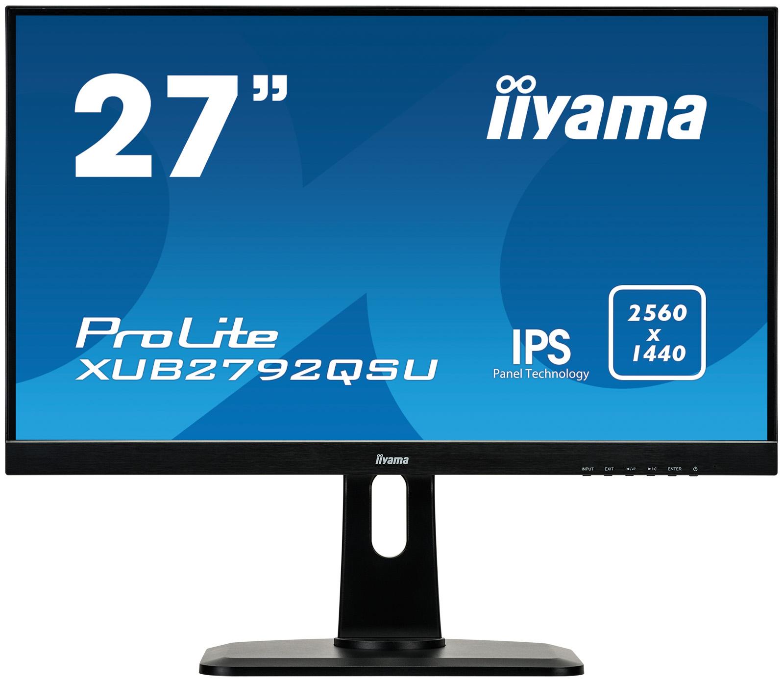 "Monitor Iiyama XUB2792QSU-B1, 27"", panel IPS, 2560x1440, DVI/HDMI/DP, hub USB"