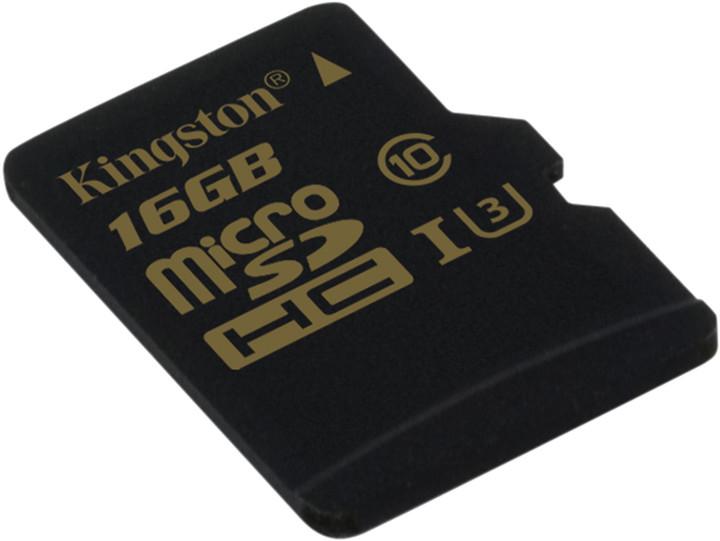 Kingston MicroSDHC karta 16GB Class U3 UHS-I (čtení/zápis;90/45MB/s)