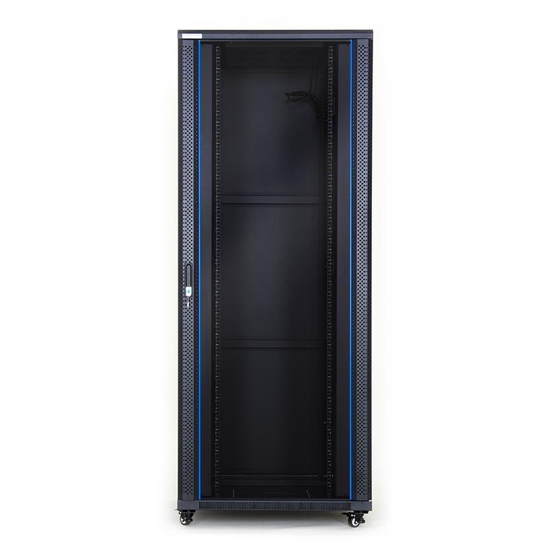START.LAN stojící skříně 19'' 42U 800x800mm - černá (prosklené dveře)