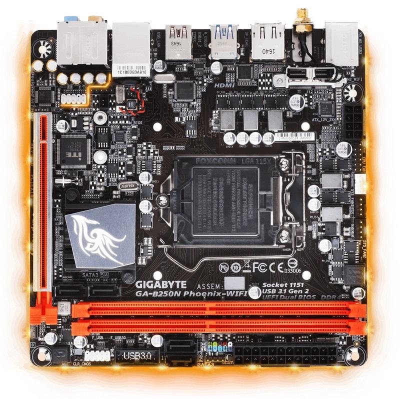 GIGABYTE MB Sc LGA1151 B250N Phoenix-WIFI, Intel B250, 2xDDR4, VGA, Wi-Fi, mini-ITX