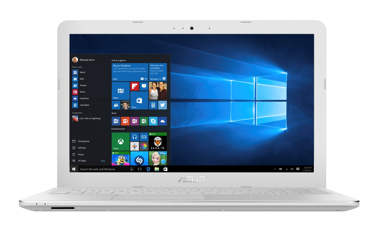 "ASUS F540SA-DM697T Pentium N3710/4GB/128GB SSD/DVDRW/Share Graphics/15.6"" FHD LED matný/W10 Home/White"