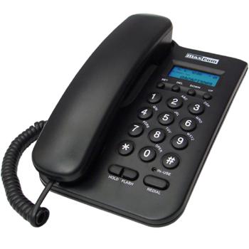MaxCom KXT100 stolní telefon, displej, záznam hovorů, redial, černý