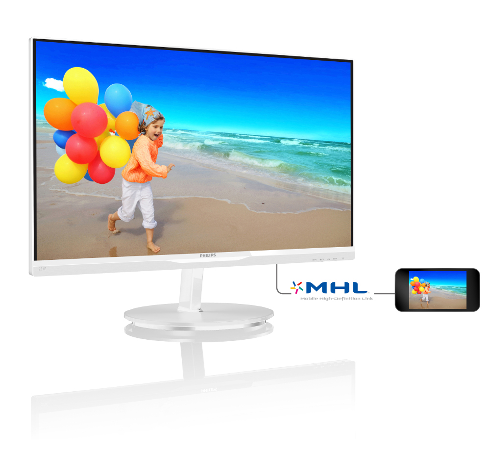 "Philips LCD 234E5QHAW 23""wide/1920x1080/5ms/20mil:1/2xHDMI/MHL/LED/IPS/repro, bílý"