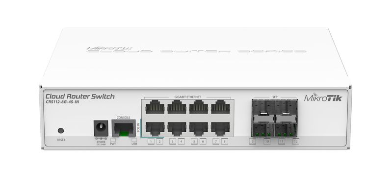 MikroTik RouterBOARD CRS112-8G-4S-IN with QCA8511, 128MB, 8xGLAN, 4xSFP, OS L5, desktop case, PSU
