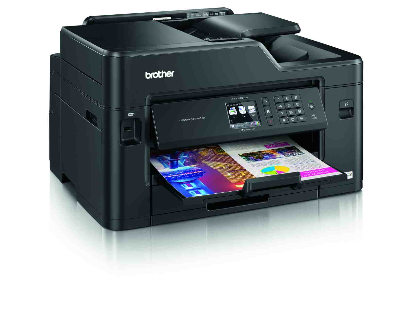 BROTHER multifunkce inkoustová MFC-J2330DW - A3, A4 sken, 22ppm, 128MB, 1200x4800, USB, LAN, WiFi, dup A4, 50ADF