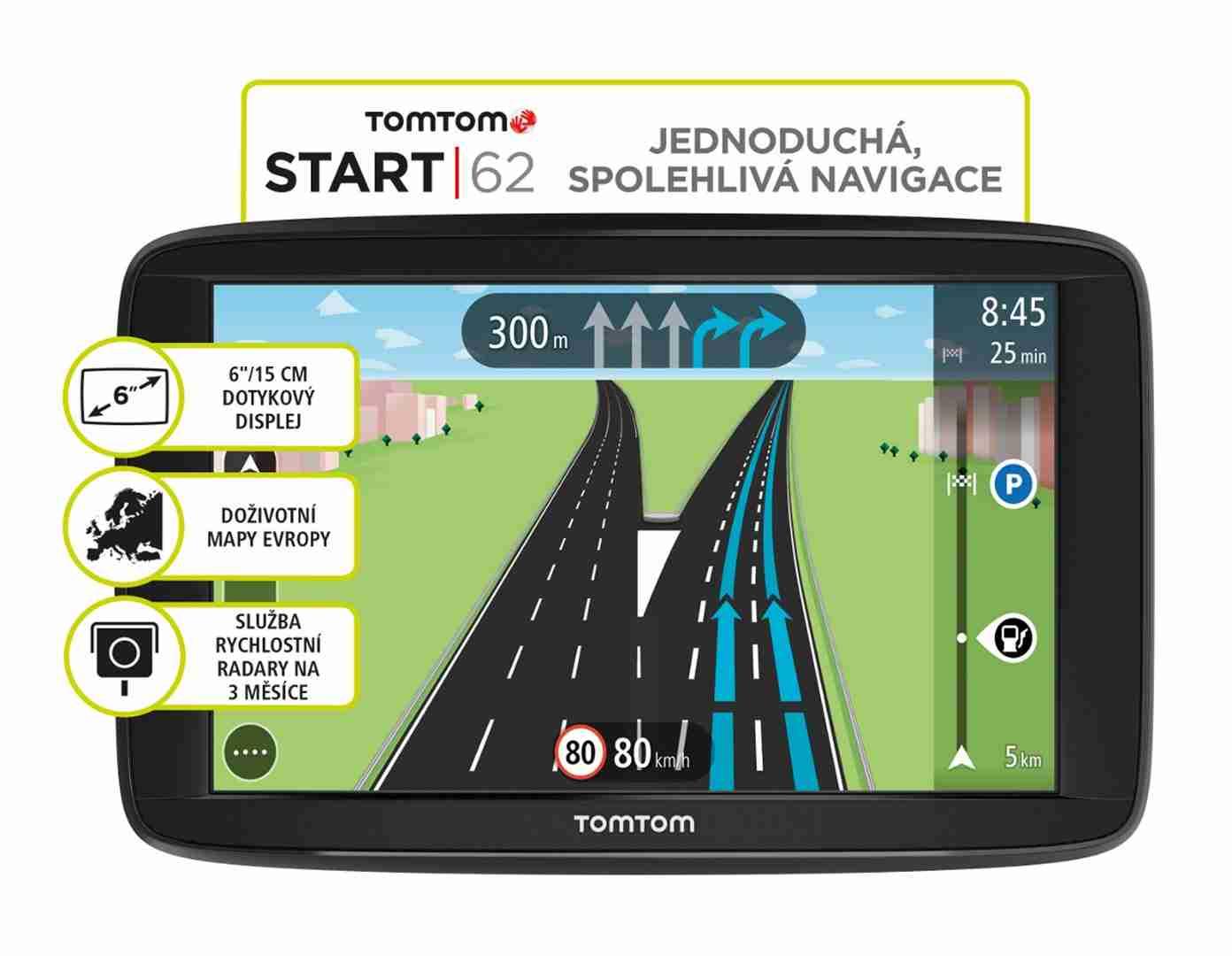 "TOMTOM START 62 Europe LIFETIME mapy, 6"" displej"