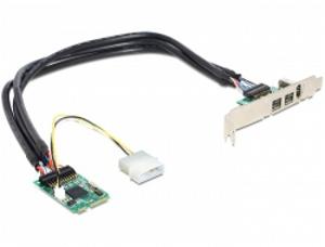 Delock MiniPCIe I/O PCIe full size 1 x FireWire A, 2 x FireWire B