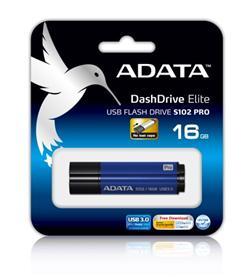 ADATA Flash Disk 16GB USB 3.0 Superior S102 Pro, hliníkový, modrý (R: 100MB / W: 25MB)