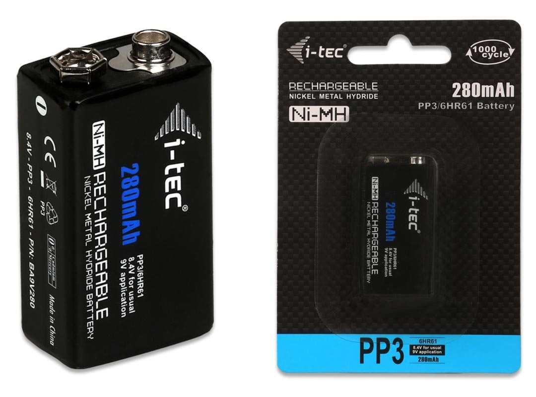 i-Tec nabíjecí baterie 9V 280 mAh Ni-MH