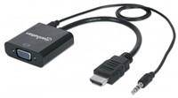 MANHATTAN převodník z HDMI na VGA + audio (HDMI Male to VGA Female, with audio, Blister)