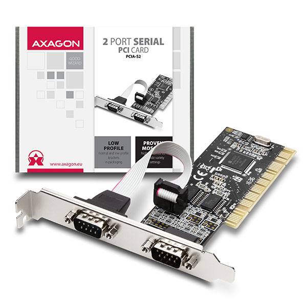AXAGON PCI adapter 2x sériový port + LP