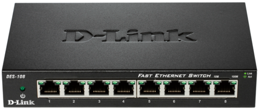 D-Link DES-108/E 8-port 10/100 Metal Housing Unmanaged Desktop Switch