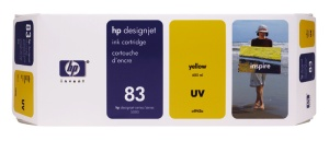HP 83 Yellow UV DJ Ink Cart, 680 ml, C4943A