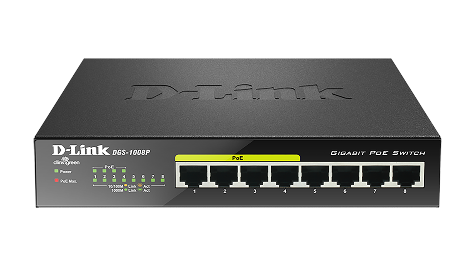 D-Link DGS-1008P/E 8-port 10/100/1000 Desktop Switch w/ 4 PoE Ports