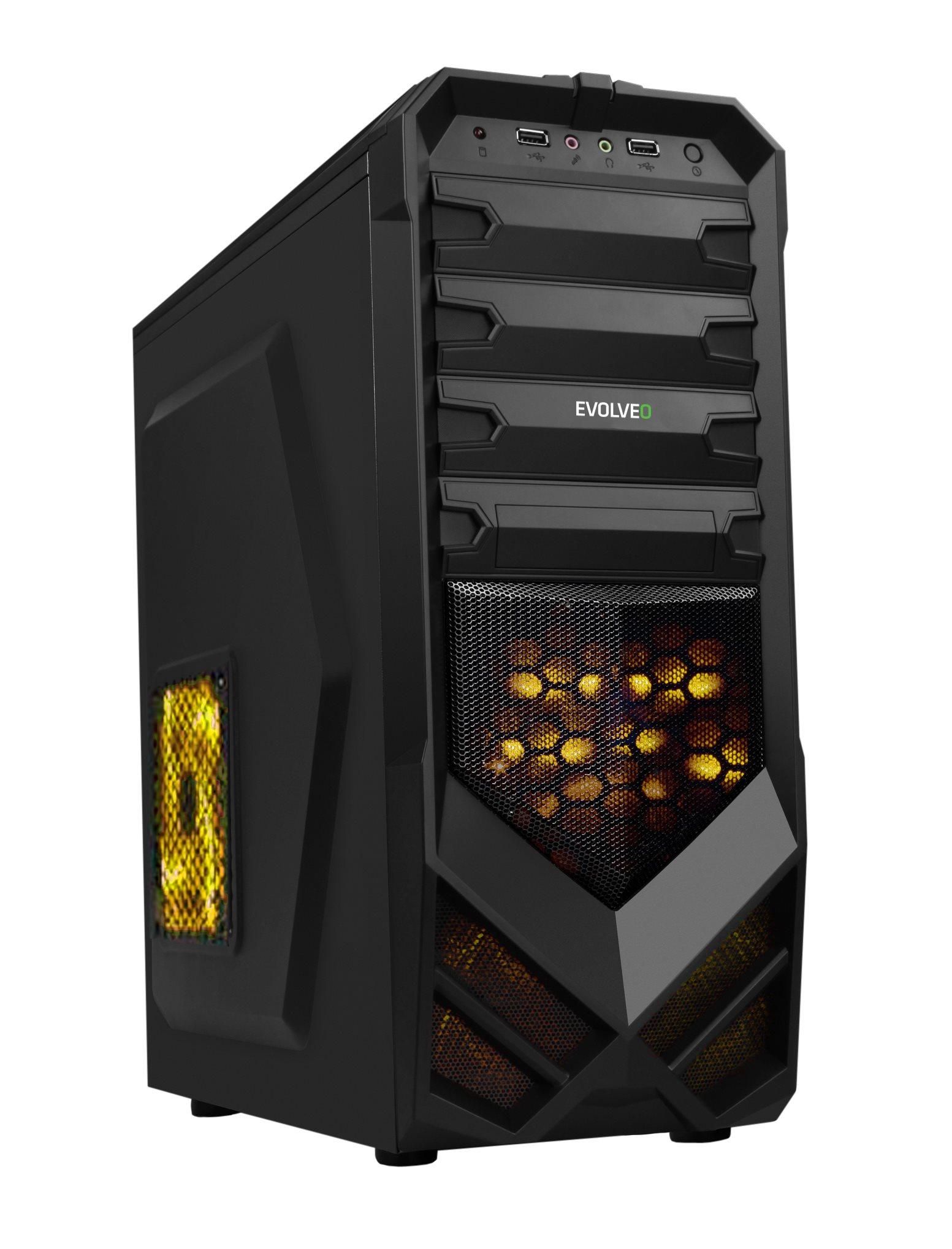 EVOLVEO case K4, ATX, black, 2x žlutý 120mm větrák, 1x USB 3.0 a 2x USB 2.0 + audio výstup na čelním panelu