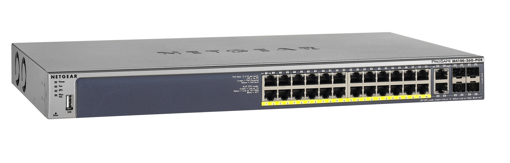 Netgear M4100-26G-PoE Managed Switch GSM7226LP 24xGbE PoE, 2xGbE, 4xSFP, 380W