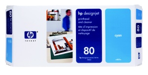 HP C4821A No. 80 Cyan Printhead and Cleaner pro DJ 1050/1055