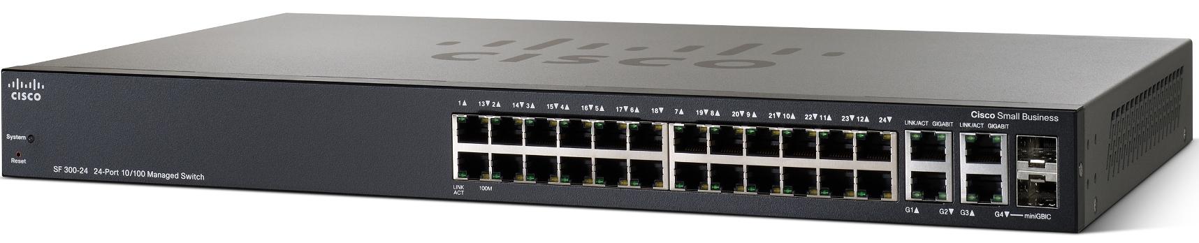 Cisco SF300-24, 24x10/100 +2xGig+2xComboSFP Switch