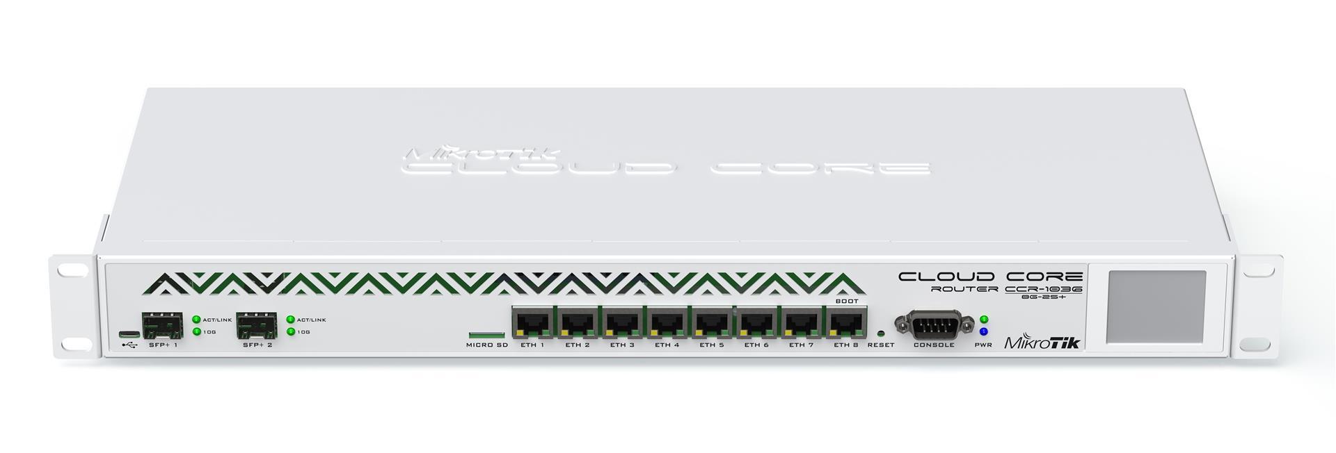 MikroTik Cloud Core Router, CCR1036-8G-2S+, 8x GB LAN,4GB RAM, 2xSFP+ cage, Level6, RM 1U, PSU, LCD
