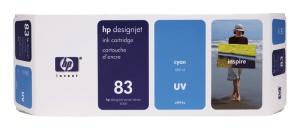 HP 83 Cyan UV DJ Ink Cart, 680 ml, C4941A