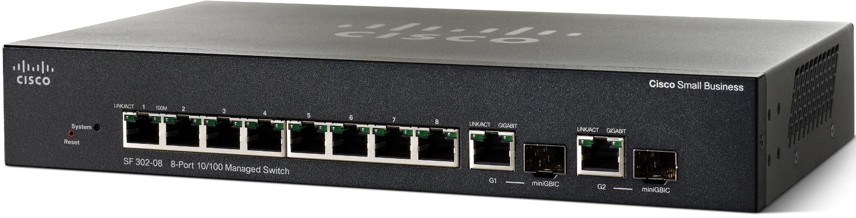 Cisco switch SF302-08, 8x10/100+2xGE/SFP, Web, SNMP