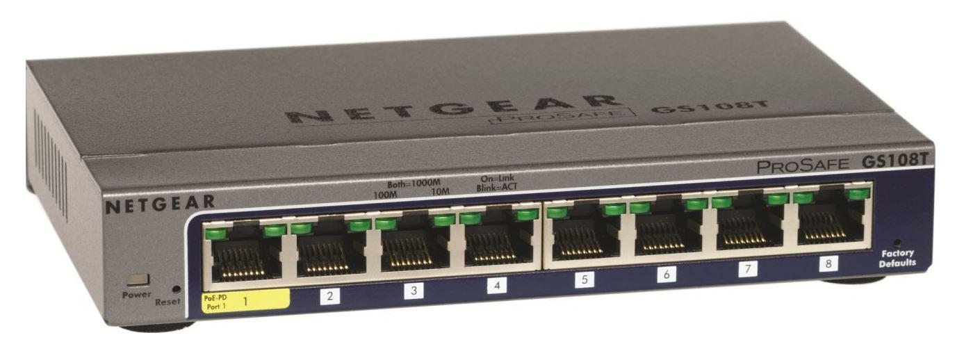 Netgear ProSafe 8-port Gigabit Smart Switch, PoE-PD (GS108Tv2) - GS108T