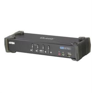 ATEN CS1764A 4-Port DVI USB 2.0 KVMP Switch, 4x DVI-D Cables, 2-port Hub, Audio