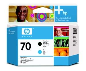 HP 70 Black matte + Cyan DJ Printhead, C9404A