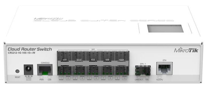 MikroTik CRS212-1G-10S-1S+IN,1port L3 rackm switch