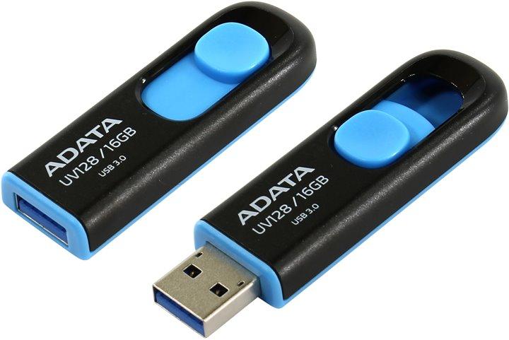 ADATA DashDrive™ Series UV128 16GB USB 3.0 flashdisk, výsuvný, černý+modrá