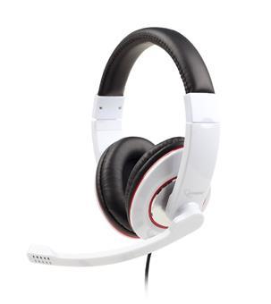 Gembird sluchátka s mikrofonem a regulací hlasitosti, bílé