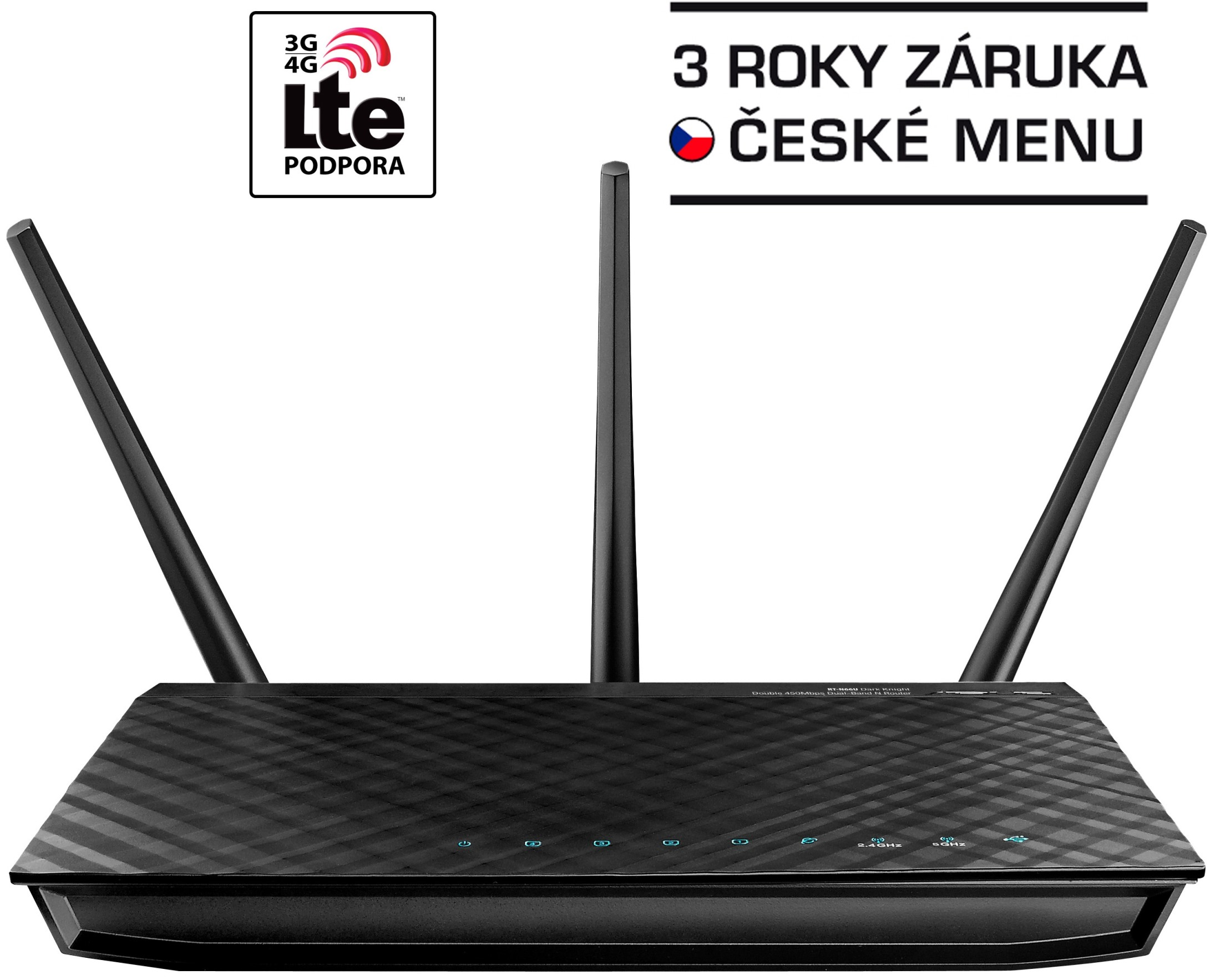 ASUS RT-N66U, Dvoupásmový Wireless-N900 gigabitový router, Dual Band, AP, USB pro Media server, 3G/4G podpora, 802.11n