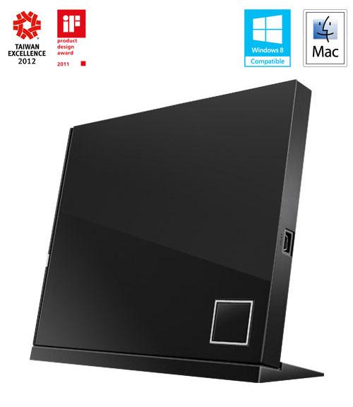 ASUS SBW-06D2X-U BLACK externí slim BD-RW + DVD verbatim pack