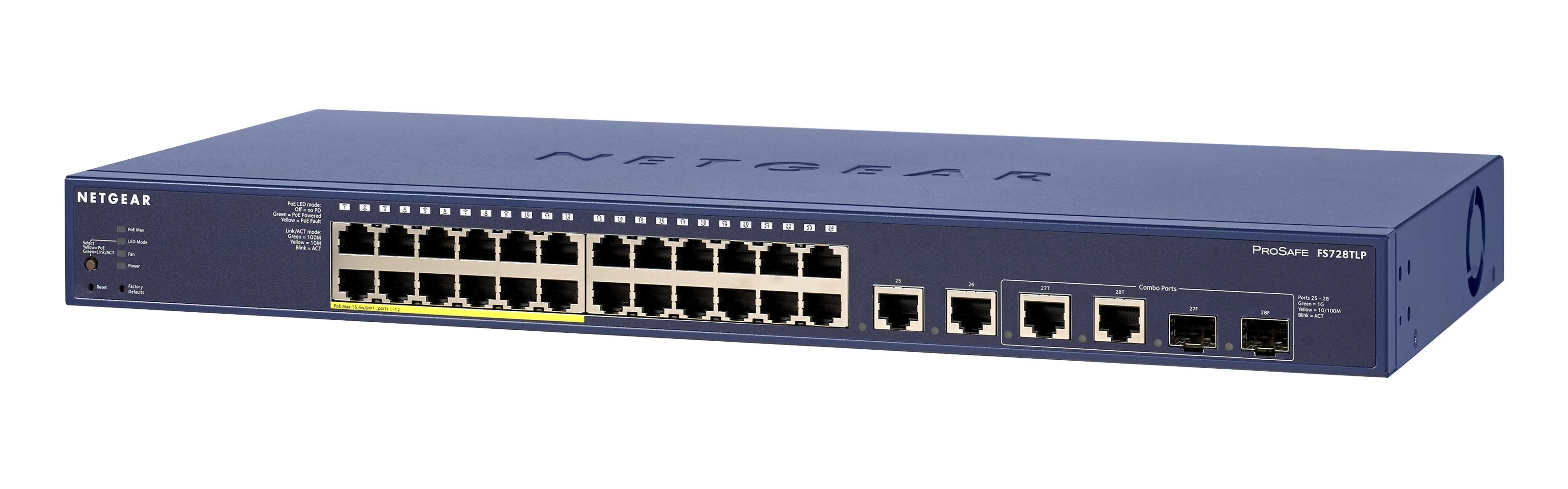 Netgear Smart Switch 24x10/100, 12x PoE, 2xGigabit 2xCombo 100W (FS728TLP)