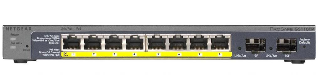 Netgear 8x 10/100/1000 ports with PoE, and 2 SFP - GS110TP
