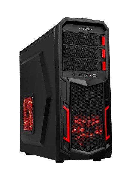 EVOLVEO K2, case ATX, herní skříň, 3x 120mm větrák, 2x USB2.0, 1x USB3.0, 2 x Audio, černo-červený