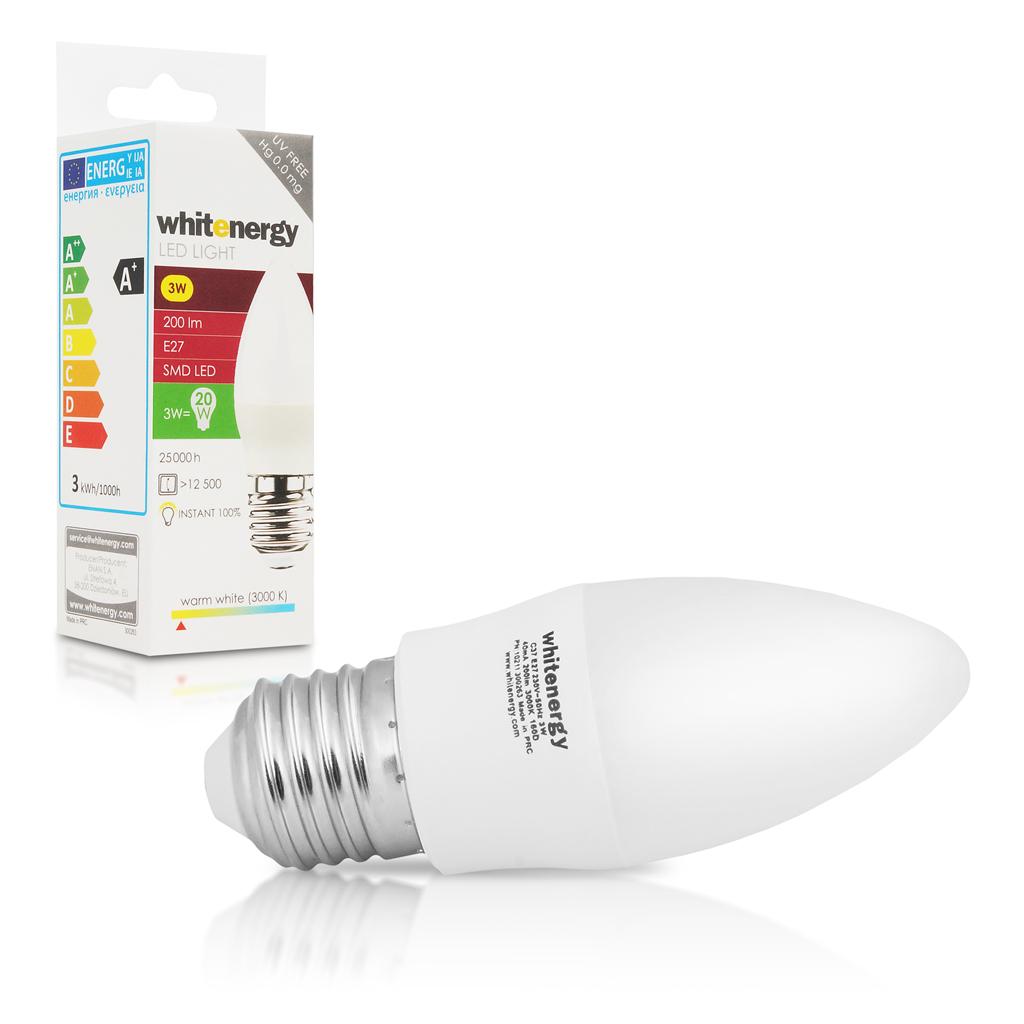 WE LED žárovka SMD2835 C37 E27 3W teplá bílá