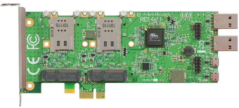 MikroTik RB14eU - redukce 4x mini-PCIe - PCIe(x1) do PC, 4xUSB, podpora 3G modemu