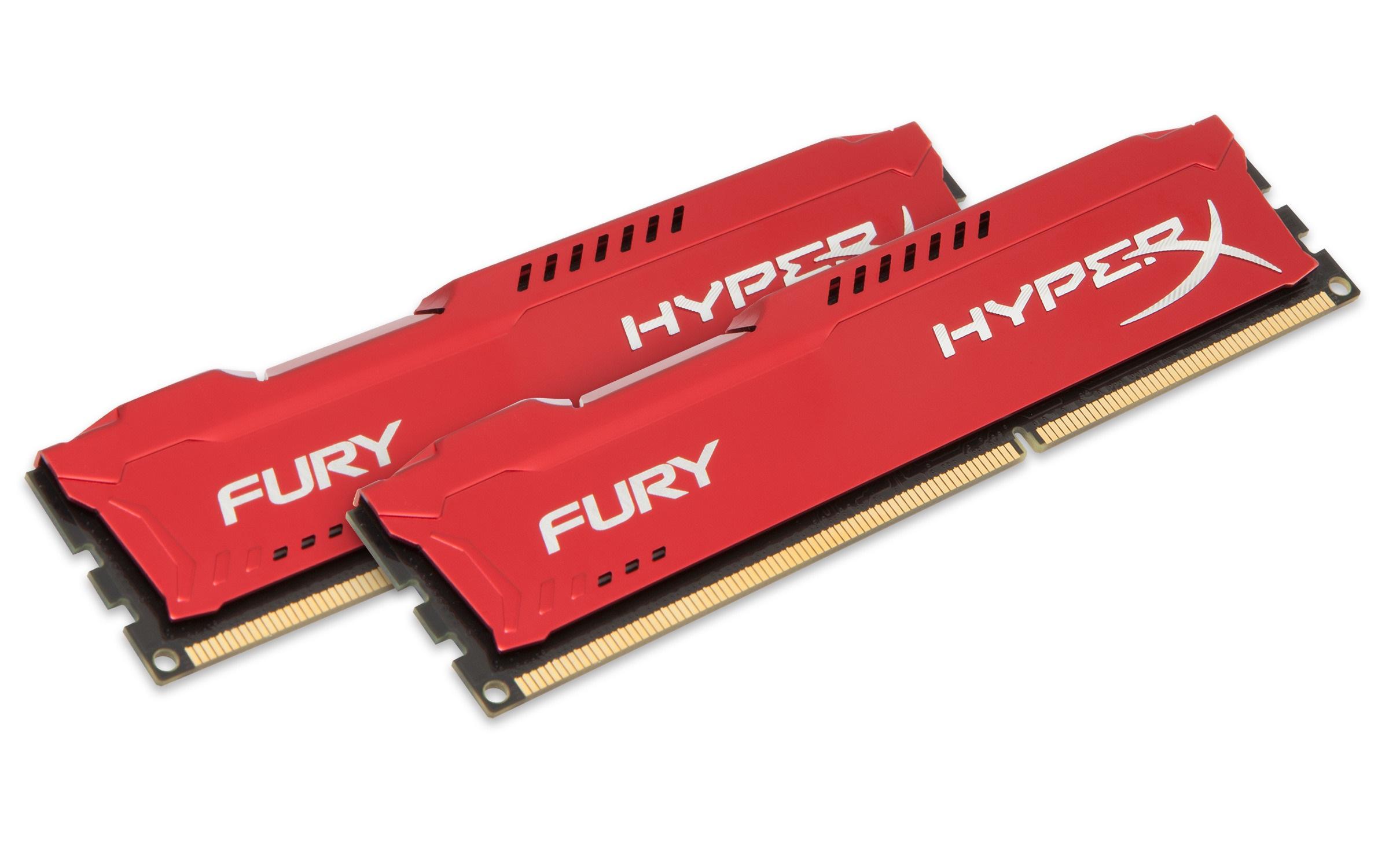 HyperX Fury 8GB (Kit 2x4GB) 1600MHz DDR3 CL10 DIMM, červený chladič